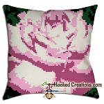 Pink Rose Throw Pillow SC (Single Crochet) Graphghan Crochet Pattern - PDF Download