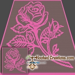 Pink Rose SC (Single Crochet) Throw Blanket Graphghan Crochet Pattern - PDF Download