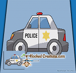 Police Car C2C (Corner to Corner) Throw Blanket Graphghan Crochet Pattern - PDF Download
