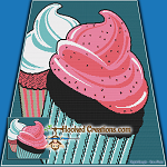 Pop Art Cupcake SC (Single Crochet) Throw Sized Blanket Graphghan Crochet Pattern - PDF Download