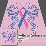 Pregnancy & Infant Loss Awareness SC (Single Crochet) Throw Blanket Graphghan Crochet Pattern - PDF Download