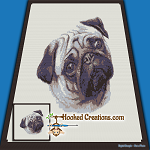 Pug SC (Single Crochet) Throw Blanket Graphghan Crochet Pattern - PDF Download