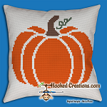 Pumpkin Pillow SC (Single Crochet) Throw Pillow Graphghan Crochet Pattern - PDF Download