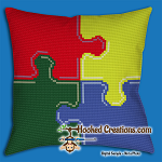 Puzzle SC (Single Crochet) Throw Pillow Graphghan Crochet Pattern - PDF Download