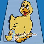 Quack SC (Single Crochet) Throw Blanket Graphghan Crochet Pattern - PDF Download