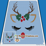 Ragdoll Reindeer Mini C2C (Modified Corner to Corner) Throw Blanket Graphghan Crochet Pattern - PDF Download