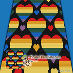 Rainbow Hearts Mini C2C (Modified Corner to Corner) Throw Sized Blanket Graphghan Crochet Pattern - PDF Download