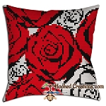 Red N White Roses SC (Single Crochet) Throw Pillow Crochet Pattern