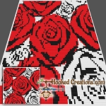 Red N White Roses SC (Single Crochet) Throw Blanket Crochet Pattern