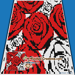 Red N White Roses SC (Single Crochet) Throw Blanket Graphghan Crochet Pattern - PDF Download