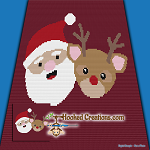 Santa and Rudolph Mini C2C (Modified Corner to Corner) Throw Size Blanket Graphghan Crochet Pattern - PDF Download