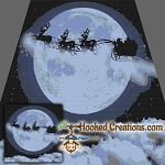 Santa Moon Flight SC (Single Crochet) Throw Sized Blanket Graphghan Crochet Pattern - PDF Download