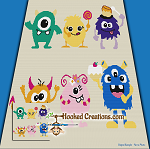 Silly Monsters SC (Single Crochet) Throw Blanket Graphghan Crochet Pattern - PDF Download