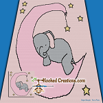 Sleeping Baby Elephant SC (Single Crochet) Throw Size Blanket Graphghan Crochet Pattern - PDF Download