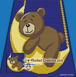 Sleepy Time Bear SC (Single Crochet) Baby Blanket Graphghan Crochet Pattern - PDF Download