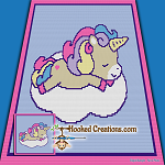 Sleepy Time Unicorn SC (Single Crochet) Baby Blanket Graphghan Crochet Pattern - PDF Download