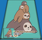 Sloth Stack SC (Single Crochet) Throw Blanket Graphghan Crochet Pattern - PDF Download