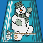 Smiling Snowman SC (Single Crochet) Throw Blanket Graphghan Crochet Pattern - PDF Download