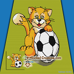 Soccer Cat SC (Single Crochet) Throw Blanket Graphghan Crochet Pattern - PDF Download