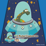 Space Dino SC (Single Crochet) Throw Blanket Graphghan Crochet Pattern - PDF Download