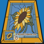 Stained Glass Sunflower SC (Single Crochet) Throw Blanket Graphghan Crochet Pattern - PDF Download