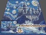 Starry Night Wizards Castle SC (Single Crochet) Throw Blanket Graphghan Crochet Pattern - PDF Download