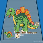 Stegosaurus SC (Single Crochet) Throw Blanket Graphghan Crochet Pattern - PDF Download