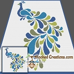 Stencil Peacock SC (Single Crochet) Throw Blanket Crochet Pattern