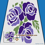 Stencil Rose SC (Single Crochet) Throw Blanket Graphghan Crochet Pattern - PDF Download