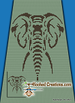Stenciled Elephant C2C (Corner to Corner) Twin Blanket Graphghan Crochet Pattern - PDF Download
