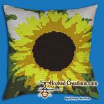 Sunflower SC (Single Crochet) Throw Pillow Graphghan Crochet Pattern - PDF Download
