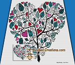 Tree of Love SC (Single Crochet) Throw Sized Blanket Graphghan Crochet Pattern - PDF Download