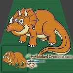 Triceratops SC (Single Crochet) Throw Blanket Graphghan Crochet Pattern - PDF Download