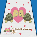 Turtlely In Love Boys SC (Single Crochet) Throw Blanket Graphghan Crochet Pattern - PDF Download