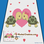 Turtlely In Love SC (Single Crochet) Throw Blanket Graphghan Crochet Pattern - PDF Download