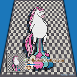 Unicorn Fart SC (Single Crochet) Throw Blanket Graphghan Crochet Pattern - PDF Download