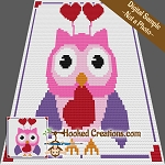 Valentine Hoot C2C (Corner to Corner) Throw Blanket Graphghan Crochet Pattern - PDF Download