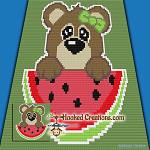 Watermelon Bear C2C (Corner to Corner) Throw Blanket Graphghan Crochet Pattern - PDF Download
