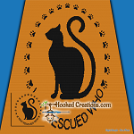 Who Rescued Who Cat SC (Single Crochet) Throw Blanket Graphghan Crochet Pattern - PDF Download