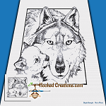Wolfie Kisses SC (Single Crochet) Throw Blanket Graphghan Crochet Pattern - PDF Download