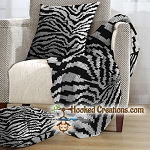 Zebra SC (Single Crochet) Throw Blanket and Pillow Set Graphghan Crochet Pattern - PDF Download