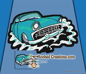 55 Chevy TSS (Tunisian Simple Stitch) Left Handed Throw Blanket Graphghan Crochet Pattern