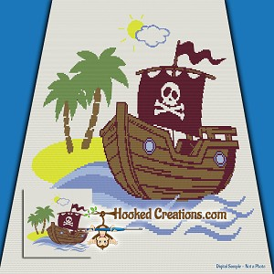 A Pirates Life SC (Single Crochet) Throw Blanket Graphghan Crochet Pattern - PDF Download