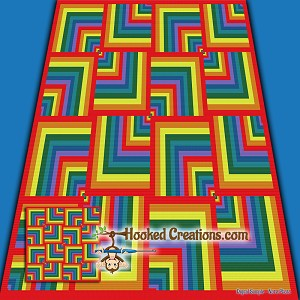 A Walk Through the Rainbow SC (Single Crochet) Throw Blanket Graphghan Crochet Pattern - PDF Download