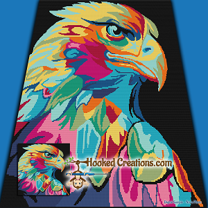 Abstract Eagle SC (Single Crochet) Throw Blanket Graphghan Crochet Pattern - PDF Download