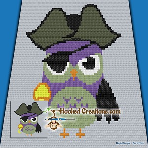 Ahoy There Hoot C2C (Corner to Corner) Throw Blanket Graphghan Crochet Pattern - PDF Download