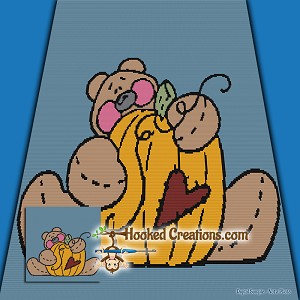 Autumn Bear SC (Single Crochet) Throw Blanket Graphghan Crochet Pattern - PDF Download
