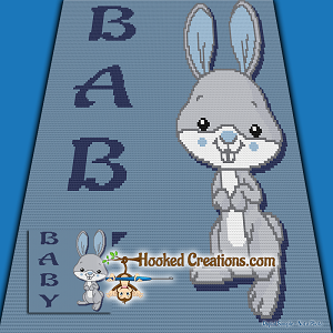Baby Bunny TSS (Tunisian Simple Stitch)-Left Handed Baby Blanket Graphghan Crochet Pattern  - PDF Download
