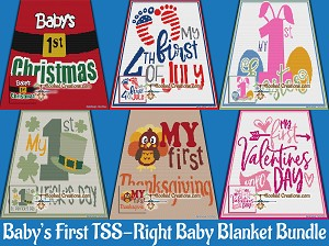 Baby's Firsts Baby Blanket TSS (Tunisian Simple Stitch) Right Handed Bundle Graphghan Crochet Patterns  - PDF Download