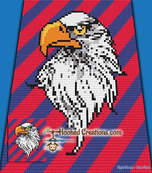 Bald Eagle C2C (Corner to Corner) Throw Blanket Graphghan Crochet Pattern -  PDF Download